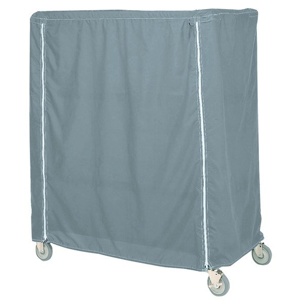 "Metro 24X60X74VCMB Mariner Blue Coated Waterproof Vinyl Shelf Cart and Truck Cover with Velcro® Closure 24"" x 60"" x 74"" Main Image 1"
