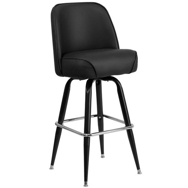 Flash Furniture XU-F-125-GG Metal Barstool with 18 1/4 inch Wide Black Padded Vinyl Swivel Bucket Seat