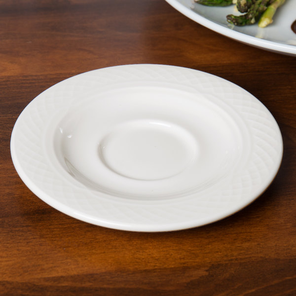 "Homer Laughlin 8846900 Kensington Ameriwhite 5 5/8"" Bright White China Saucer - 36/Case"
