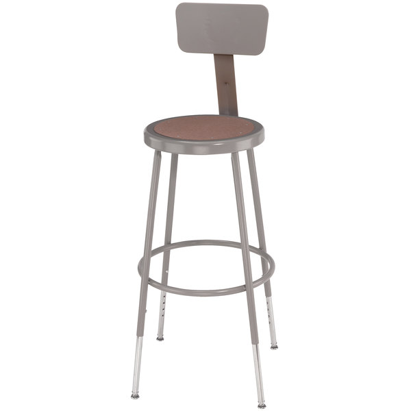 Tremendous National Public Seating 6224Hb 25 33 Gray Adjustable Round Hardboard Lab Stool With Adjustable Backrest Ibusinesslaw Wood Chair Design Ideas Ibusinesslaworg