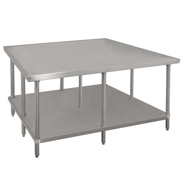 """Advance Tabco VLG-488 48"""" x 96"""" 14 Gauge Stainless Steel Work Table with Galvanized Undershelf"""