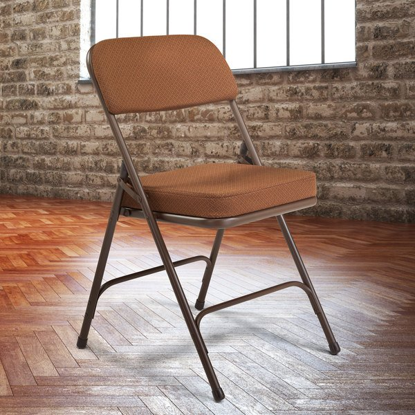 National Public Seating 3219 Brown Metal Folding Chair with 2