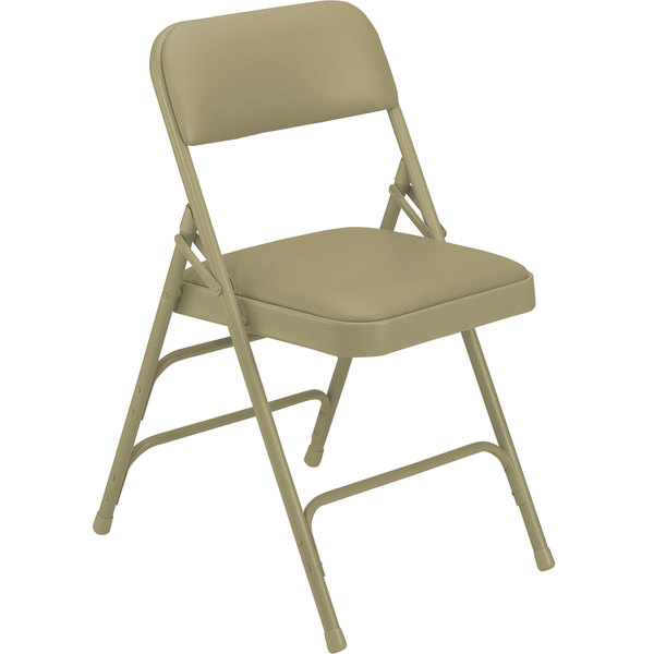 """National Public Seating 1301 Beige Metal Folding Chair with 1 1/4"""" French Beige Vinyl Padded Seat"""