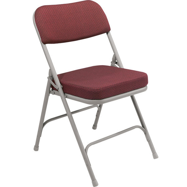 """National Public Seating 3218 Gray Metal Folding Chair with 2"""" New Burgundy Fabric Padded Seat"""