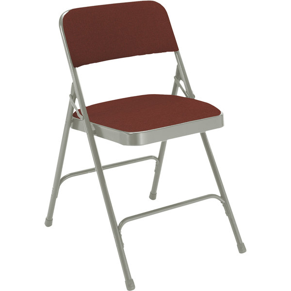 "National Public Seating 2208 Gray Metal Folding Chair with 1 1/4"" Majestic Cabernet Fabric Padded Seat"