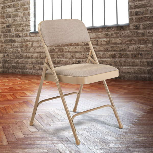 "National Public Seating 2201 Beige Metal Folding Chair with 1 1/4"" Cafe Beige Fabric Padded Seat Main Image 3"