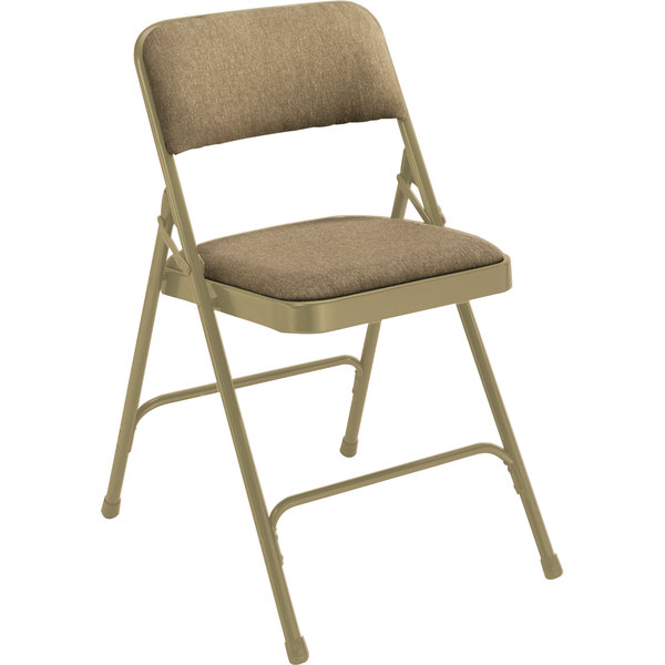 """National Public Seating 2201 Beige Metal Folding Chair with 1 1/4"""" Cafe Beige Fabric Padded Seat"""