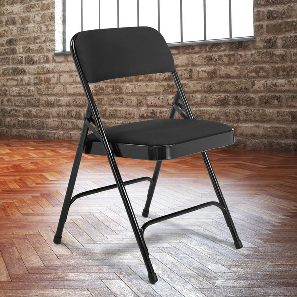 Incredible National Public Seating 2210 Black Metal Folding Chair With 1 1 4 Midnight Black Fabric Padded Seat Machost Co Dining Chair Design Ideas Machostcouk