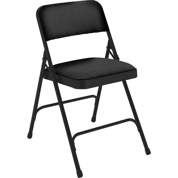 """National Public Seating 2210 Black Metal Folding Chair with 1 1/4"""" Midnight Black Fabric Padded Seat"""