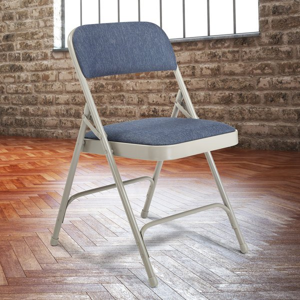 """National Public Seating 2205 Gray Metal Folding Chair with 1 1/4"""" Imperial Blue Fabric Padded Seat Main Image 3"""