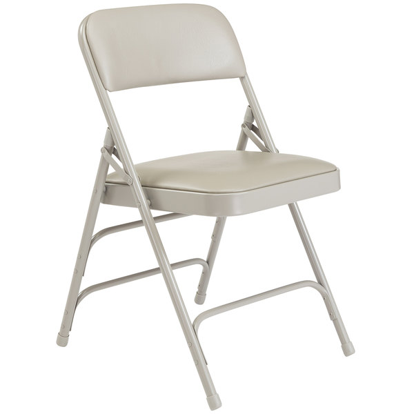 Sensational National Public Seating 1302 Gray Metal Folding Chair With 1 1 4 Warm Gray Vinyl Padded Seat Theyellowbook Wood Chair Design Ideas Theyellowbookinfo