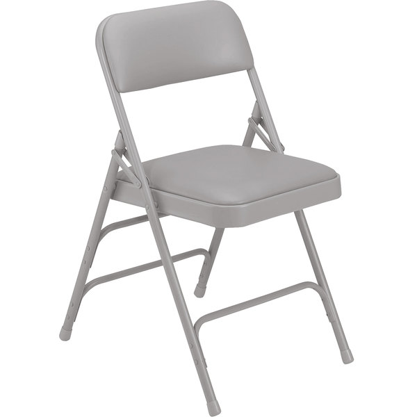 "National Public Seating 1302 Gray Metal Folding Chair with 1 1/4"" Warm Gray Vinyl Padded Seat"
