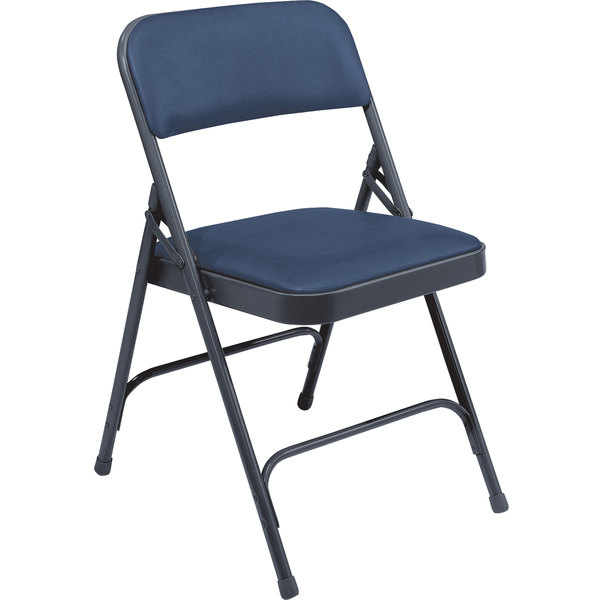 """National Public Seating 1204 Char-Blue Metal Folding Chair with 1 1/4"""" Dark Midnight Blue Vinyl Padded Seat"""
