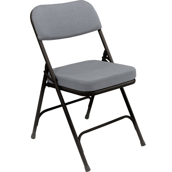 "National Public Seating 3212 Black Metal Folding Chair with 2"" Charcoal Gray Fabric Padded Seat"