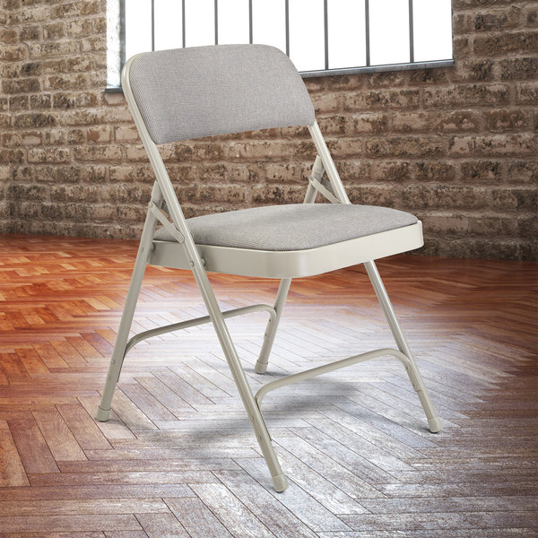 """National Public Seating 2202 Gray Metal Folding Chair with 1 1/4"""" Graystone Fabric Padded Seat"""