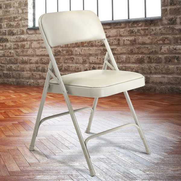 """National Public Seating 1202 Gray Metal Folding Chair with 1 1/4"""" Warm Gray Vinyl Padded Seat"""