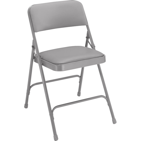 "National Public Seating 1202 Gray Metal Folding Chair with 1 1/4"" Warm Gray Vinyl Padded Seat"