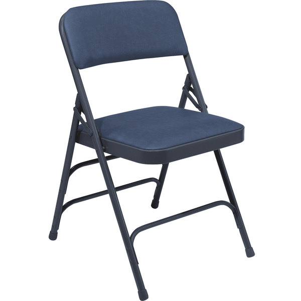 """National Public Seating 1304 Char-Blue Metal Folding Chair with 1 1/4"""" Dark Midnight Blue Vinyl Padded Seat"""