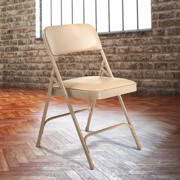 Stupendous National Public Seating 1201 Beige Metal Folding Chair With 1 1 4 French Beige Vinyl Padded Seat Caraccident5 Cool Chair Designs And Ideas Caraccident5Info
