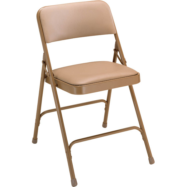 """National Public Seating 1201 Beige Metal Folding Chair with 1 1/4"""" French Beige Vinyl Padded Seat"""