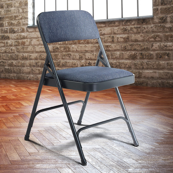 """National Public Seating 2204 Char-Blue Metal Folding Chair with 1 1/4"""" Imperial Blue Fabric Padded Seat"""