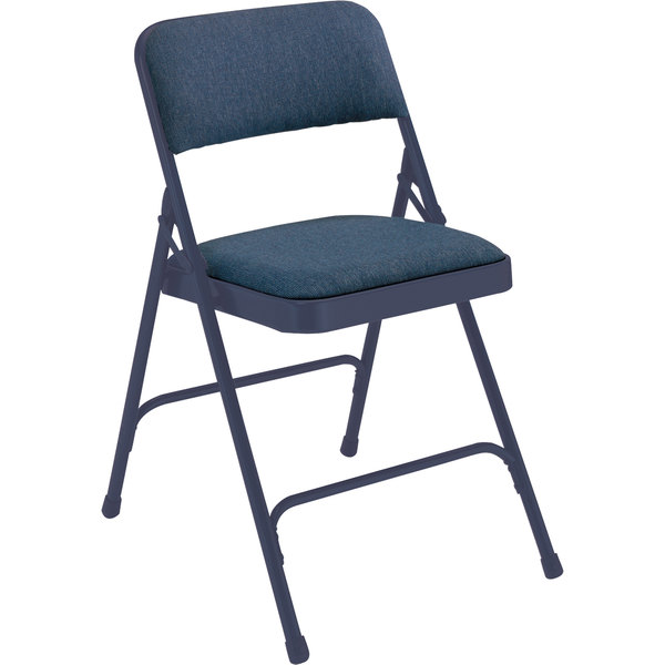 "National Public Seating 2204 Char-Blue Metal Folding Chair with 1 1/4"" Imperial Blue Fabric Padded Seat"