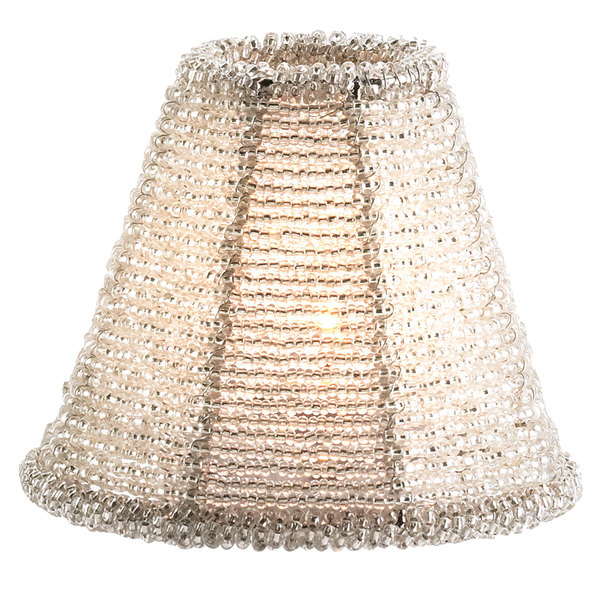 Sterno products 85468 petite silver beaded lamp shade aloadofball Gallery