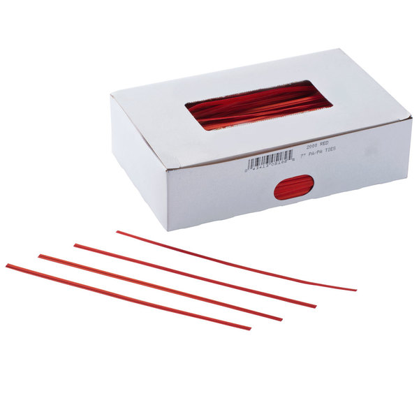 """Bedford Industries Inc. 7"""" Red Paper Bag Ties - 2000/Box"""