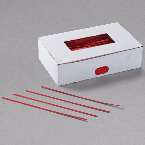 "Bedford Industries Inc. 7"" Red Paper Bag Ties - 2000/Box Main Image 1"