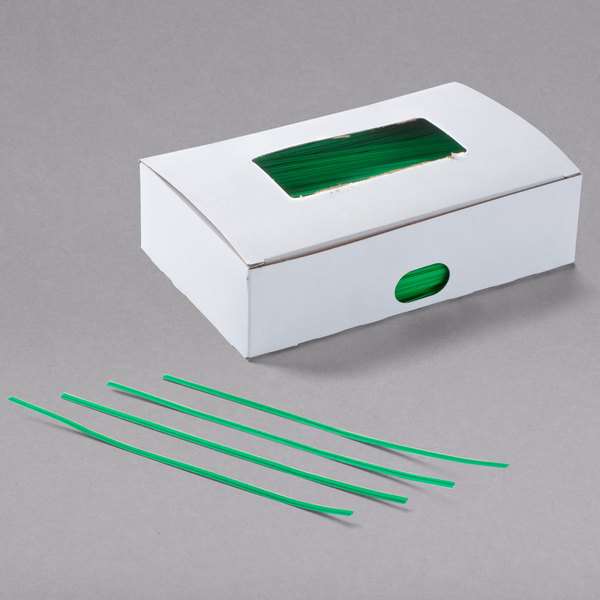 "Bedford Industries Inc. 7"" Green Paper Bag Ties - 2000/Box Main Image 1"