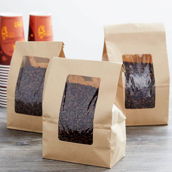 6 lb. Brown Kraft Paper Cookie / Coffee / Donut Bag with Window - 500/Case Main Image 2