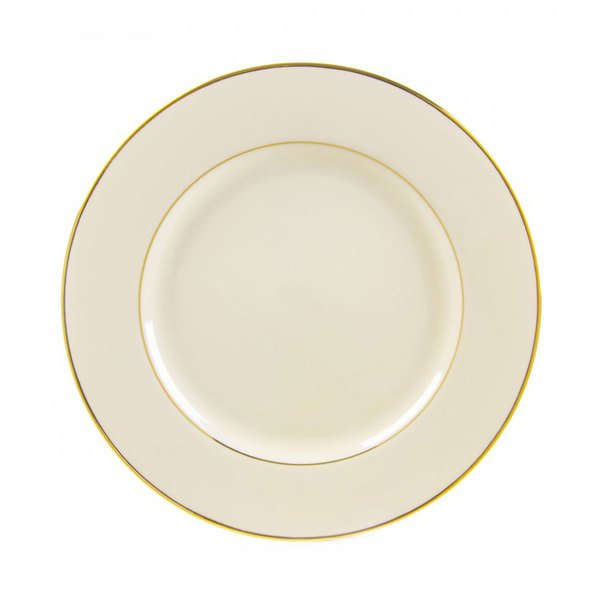 """10 Strawberry Street CGLD0005 6 3/4"""" Cream Double Gold Line Bread and Butter Plate - 24/Case"""