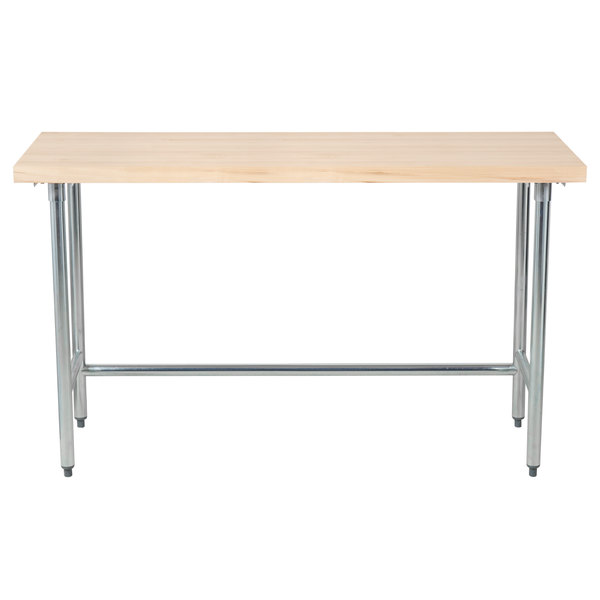 "Advance Tabco TH2G-305 Wood Top Work Table with Galvanized Base - 30"" x 60"""