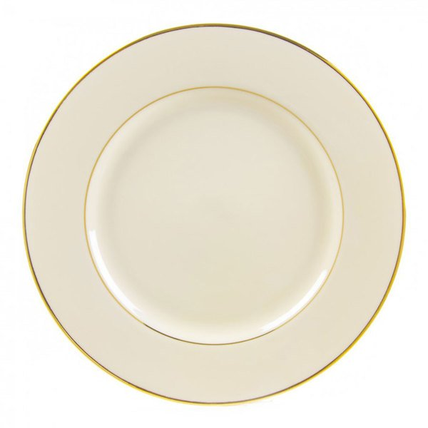 """10 Strawberry Street CGLD0024 12 1/4"""" Cream Double Gold Line Charger Plate - 12/Case"""