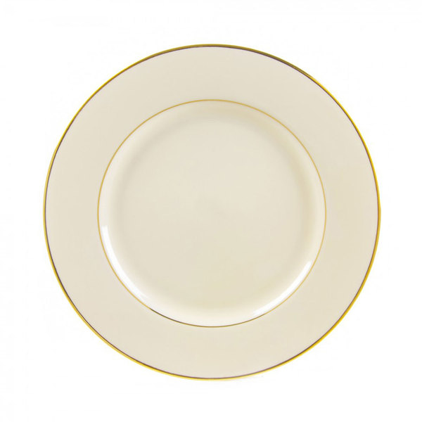 "10 Strawberry Street CGLD0002 9 1/8"" Cream Double Gold Line Luncheon Plate - 24/Case"