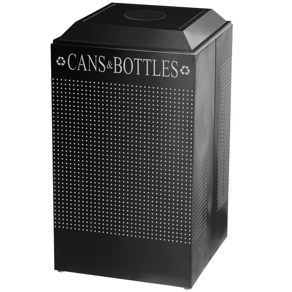 Rubbermaid FGDCR24CTBK Silhouettes Textured Black 29 Gallon Recycling Receptacle for Cans / Bottles