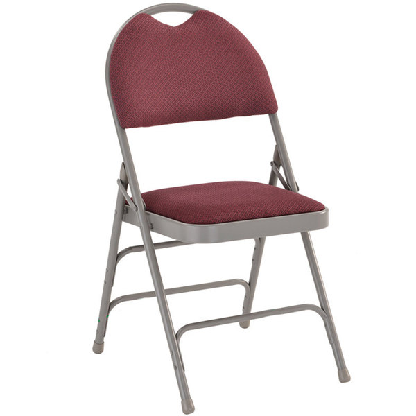 "Flash Furniture HA-MC705AF-3-BY-GG Burgundy Metal Folding Chair with 1"" Padded Fabric Seat - with Easy-Carry Handle"