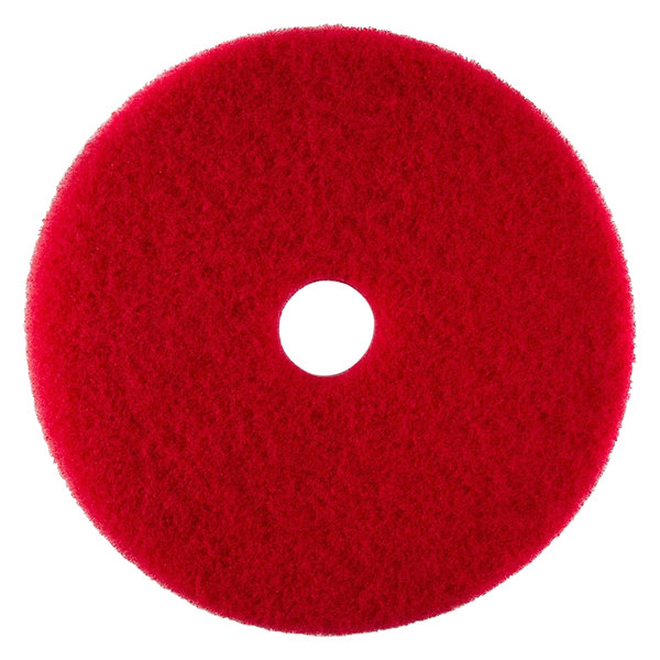 """Scrubble by ACS 51-6 1/2 Type 55 6 1/2"""" Red Buffing Floor Pad - Type 55 - 10/Case"""