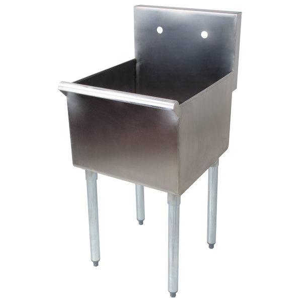 "Regency 18"" 16-Gauge Stainless Steel One Compartment Commercial Sink without Drainboard - 18"" x 18"" x 14"" Bowl"