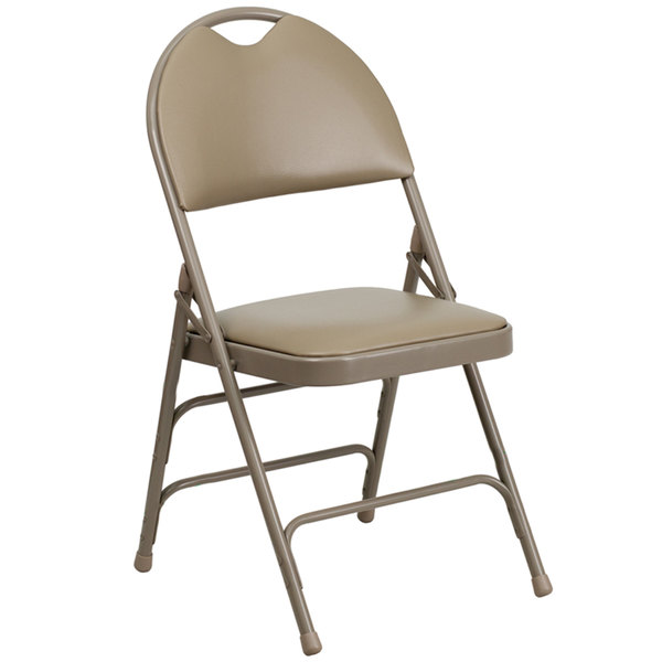 """Flash Furniture HA-MC705AV-3-BGE-GG Beige Metal Folding Chair with 1"""" Padded Vinyl Seat - with Easy-Carry Handle"""