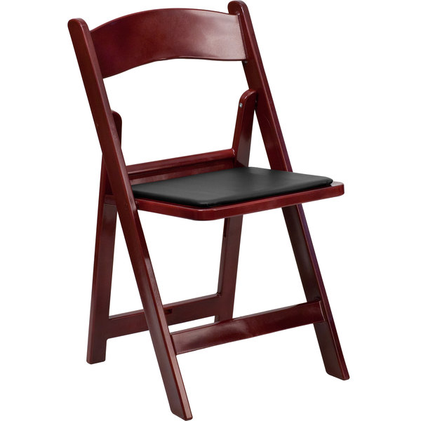 Flash Furniture LE L 1 MAH GG Red Mahogany Plastic Folding Chair With Black  Vinyl Padded Seat