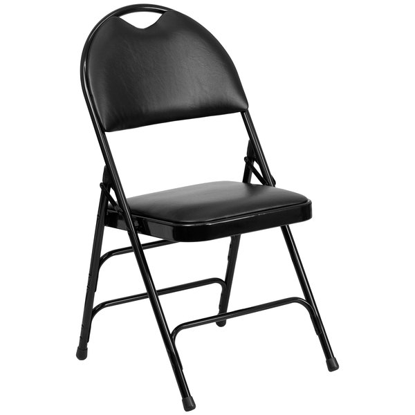 "Flash Furniture HA-MC705AV-3-BK-GG Black Metal Folding Chair with 1"" Padded Vinyl Seat - with Easy-Carry Handle"