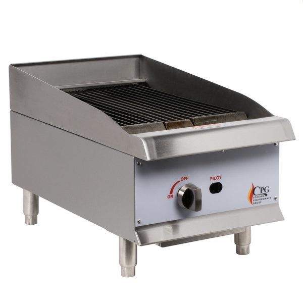 Cooking Performance Group CBL15 15 inch Natural Gas Countertop Lava Briquette Charbroiler - 40,000 BTU
