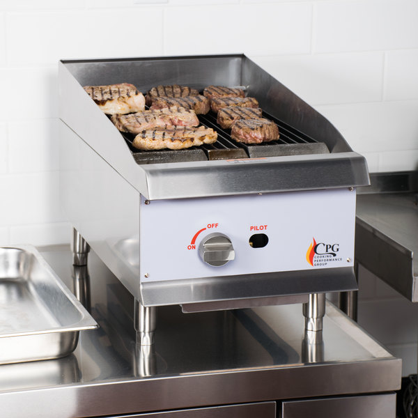"Cooking Performance Group CBL15 15"" Natural Gas Countertop Lava Briquette Charbroiler - 40,000 BTU Main Image 5"