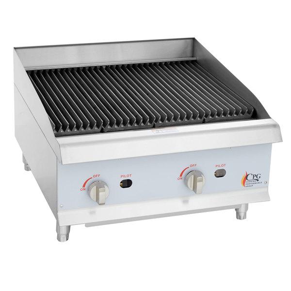 Cooking Performance Group CBL24 24 inch Gas Countertop Lava Briquette Charbroiler - 80,000 BTU