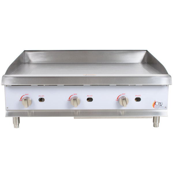 Cooking Performance Group G36 36 inch Gas Countertop Griddle with Manual Controls - 90,000 BTU