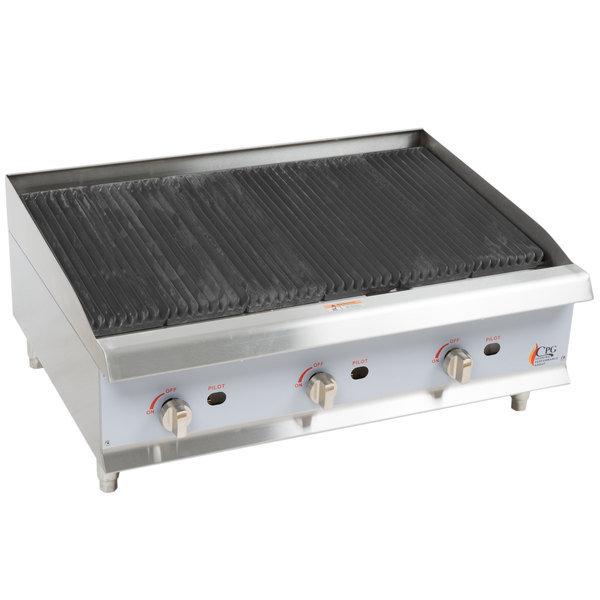 Cooking Performance Group CBR36 36 inch Gas Countertop Radiant Charbroiler - 120,000 BTU