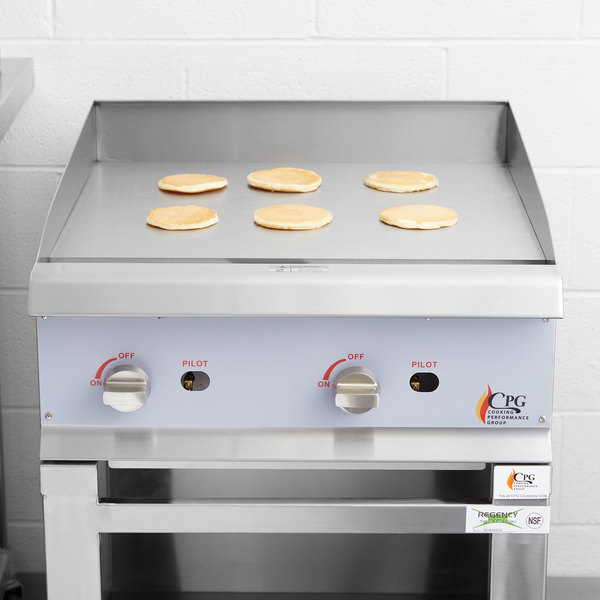 """Cooking Performance Group G24 24"""" Gas Countertop Griddle with Manual Controls - 60,000 BTU"""