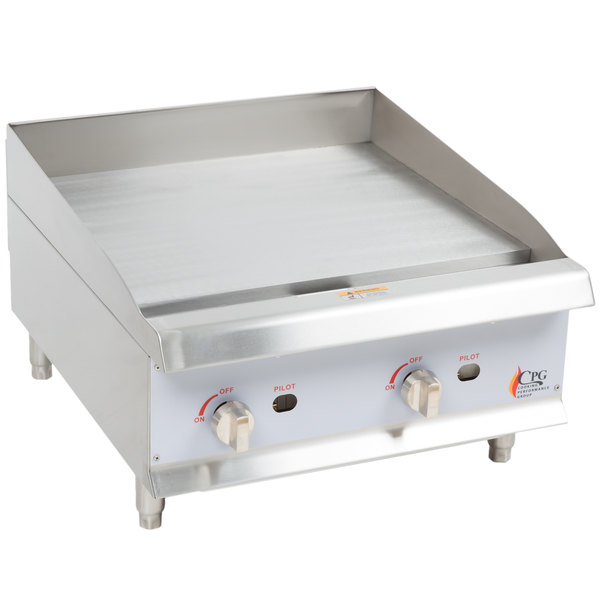 Cooking Performance Group G24 24 inch Gas Countertop Griddle with Manual Controls - 60,000 BTU