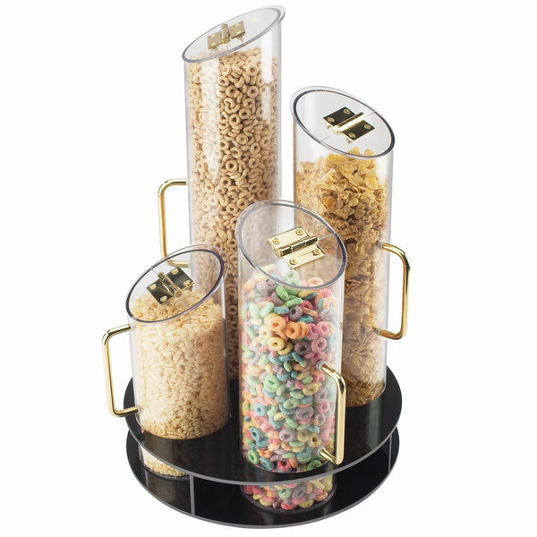 Cal-Mil 723 Four Bin Turntable Cereal Dispenser with Black ABS Base